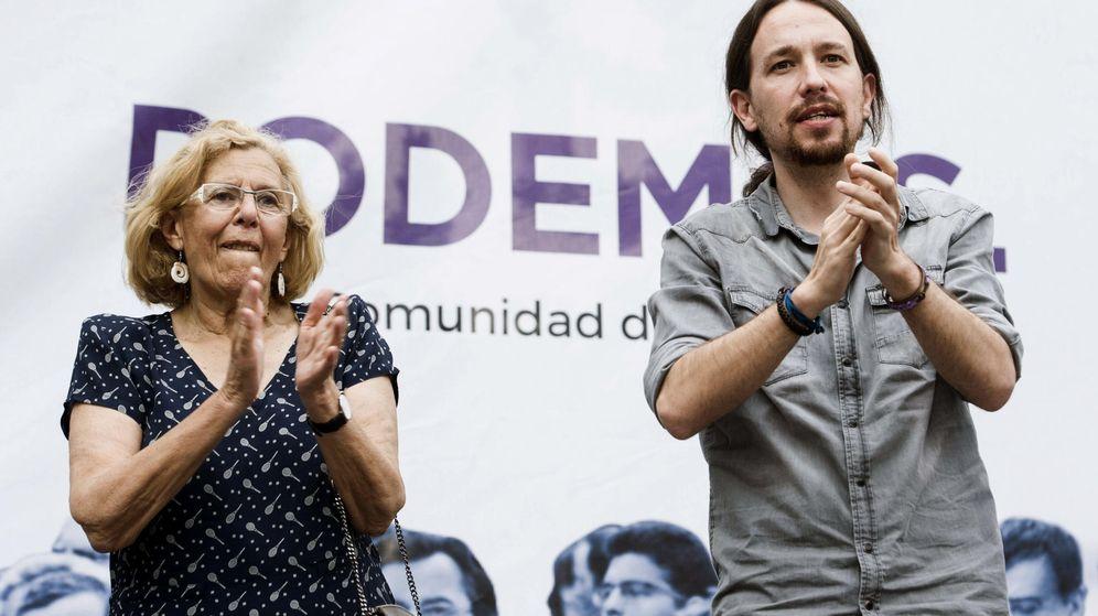 Foto: Pablo Iglesias en un mitin de apoyo a la candidata de Ahora Madrid, Manuela Carmena. (EFE)