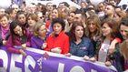 Las ministras y la mujer de Sánchez, en la manifestación
