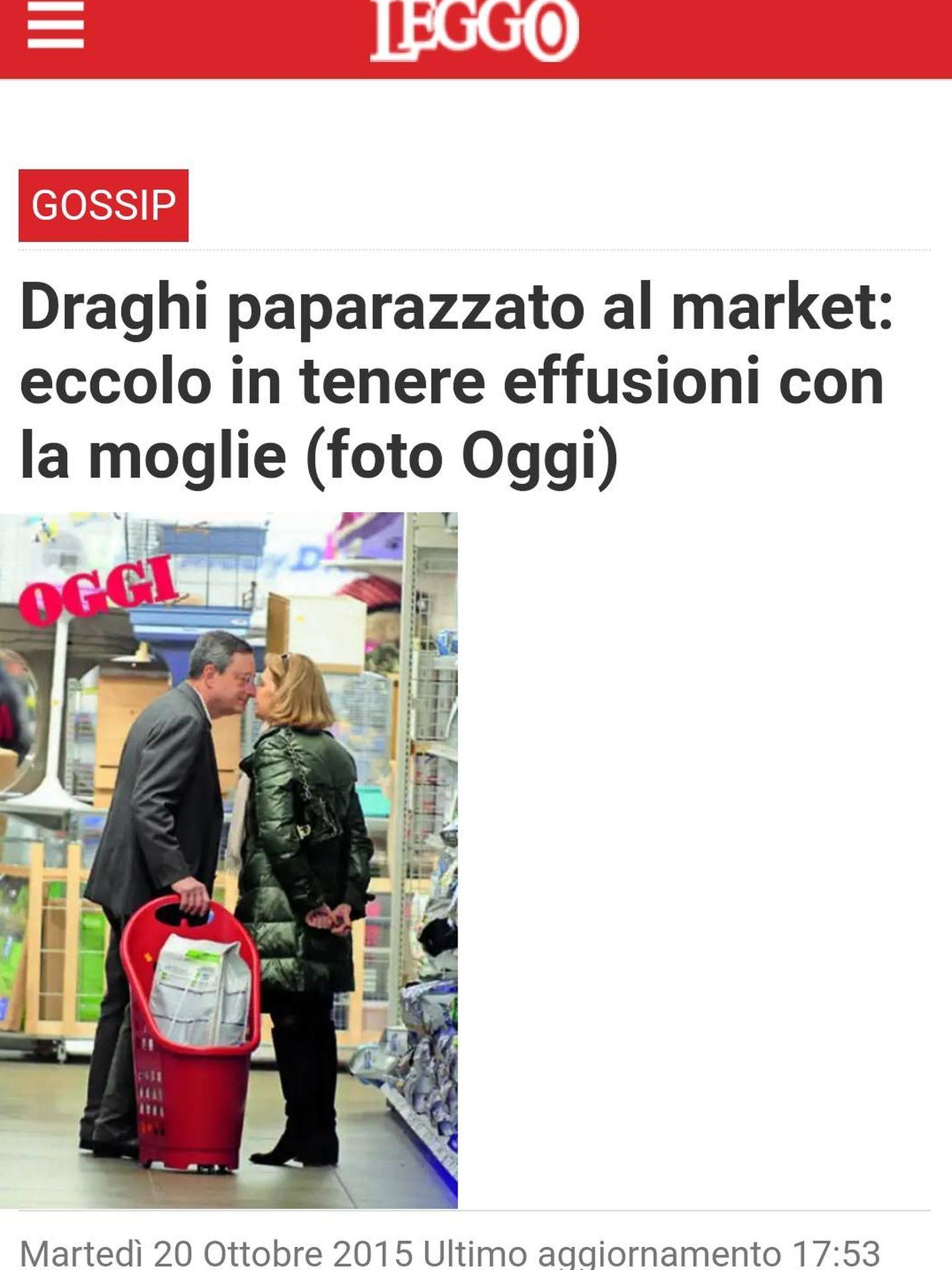La prensa alaba el amor de la pareja Draghi y publica sus imágenes. (Leggo)