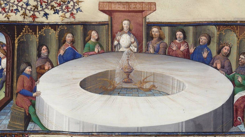 Foto: Ilustración medieval en la que el Rey Arturo y sus caballeros tienen una visión del Santo Grial.