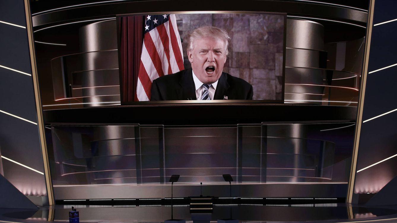 Foto: Donald Trump habla vía satélite desde la Torre Trump en Nueva York durante la Convención Republicana (Reuters)