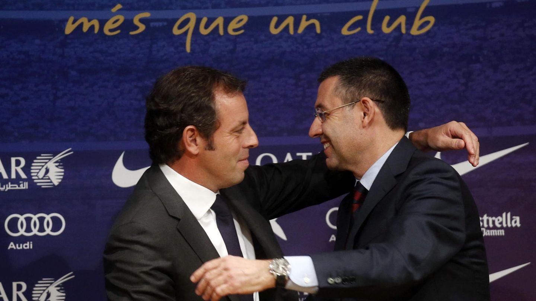 Sandro Rosell junto a Josep María Bartomeu.