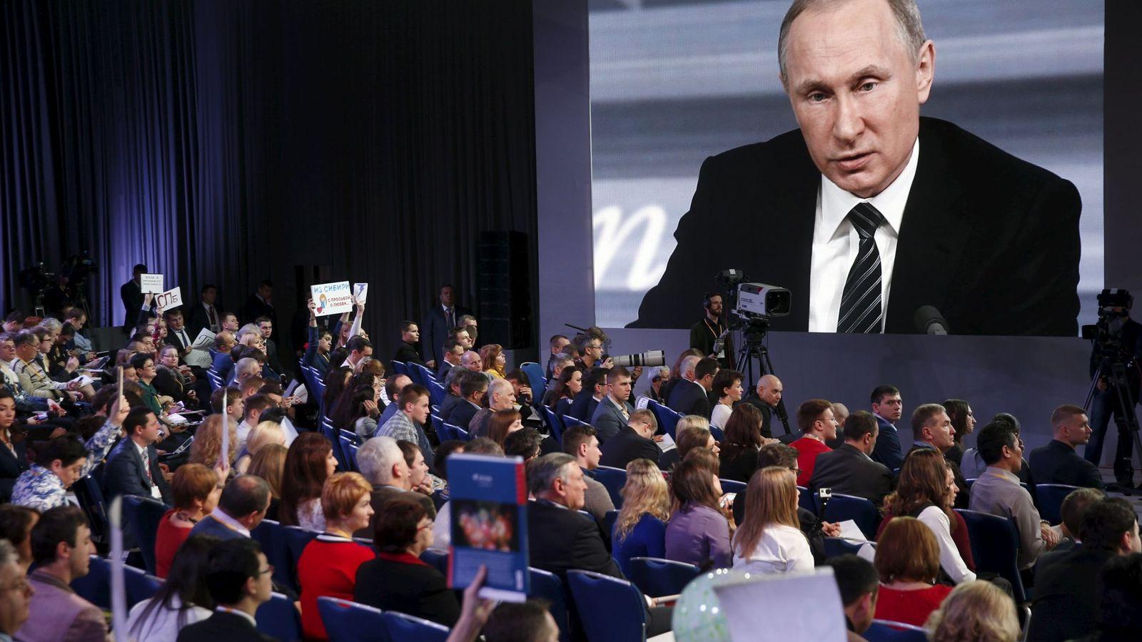 Foto: El Presidente ruso Vladimir Putin, durante la comparecencia de prensa de final de año, el 17 de diciembre de 2015 (Reuters)