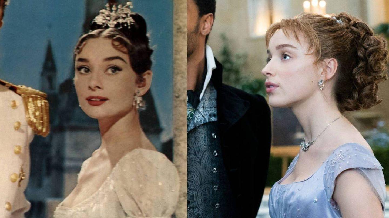 Audrey Hepburn, en 'Guerra y paz' y Daphne Bridgerton. (Cordon Press / Netflix)
