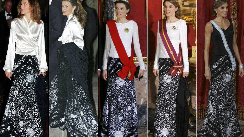 La Reina con su falda de Caprile. (Gtres)