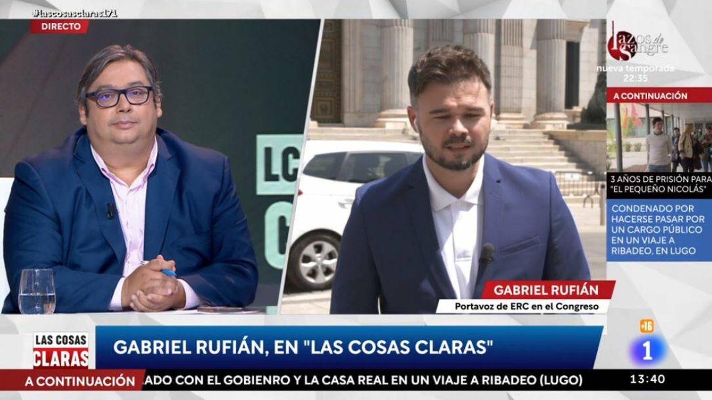 Francisco Simón y Gabriel Rufián, en 'Las cosas claras'. (RTVE)