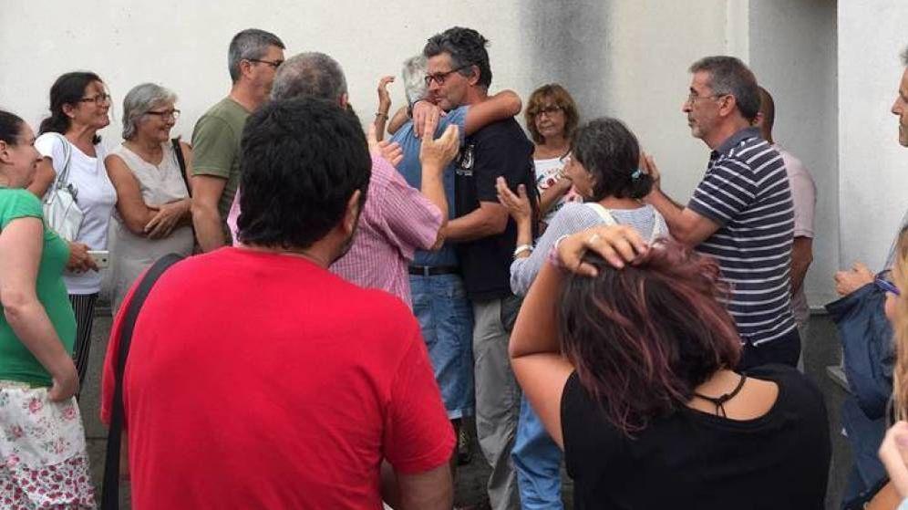 Foto: Clavero, al salir del juzgado de Ubrique. (Plataforma Ciudadana Sierra de Cádiz)