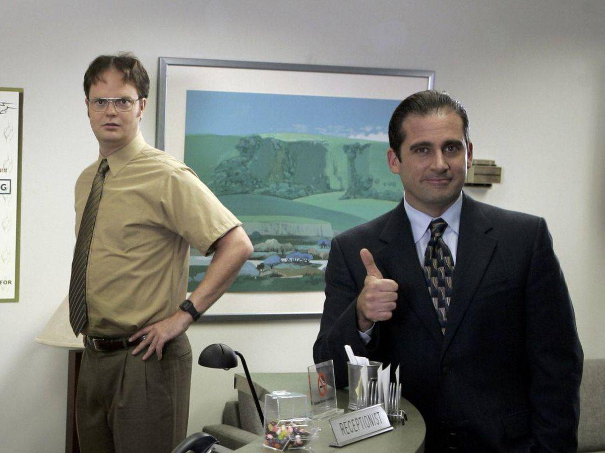 Foto: Los actores Steve Carrell y Rainn Wilson en la serie 'The Office'