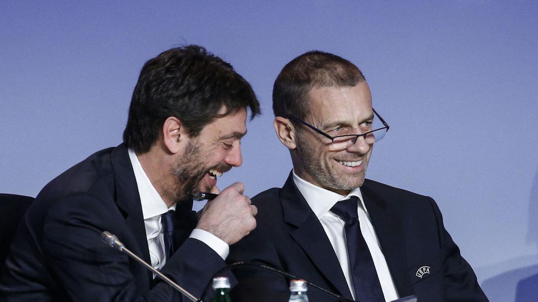 Agnelli y Ceferin, juntos en un acto. (EFE)