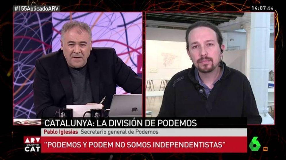 Foto: Antonio García Ferreras entrevistando a Pablo Iglesias