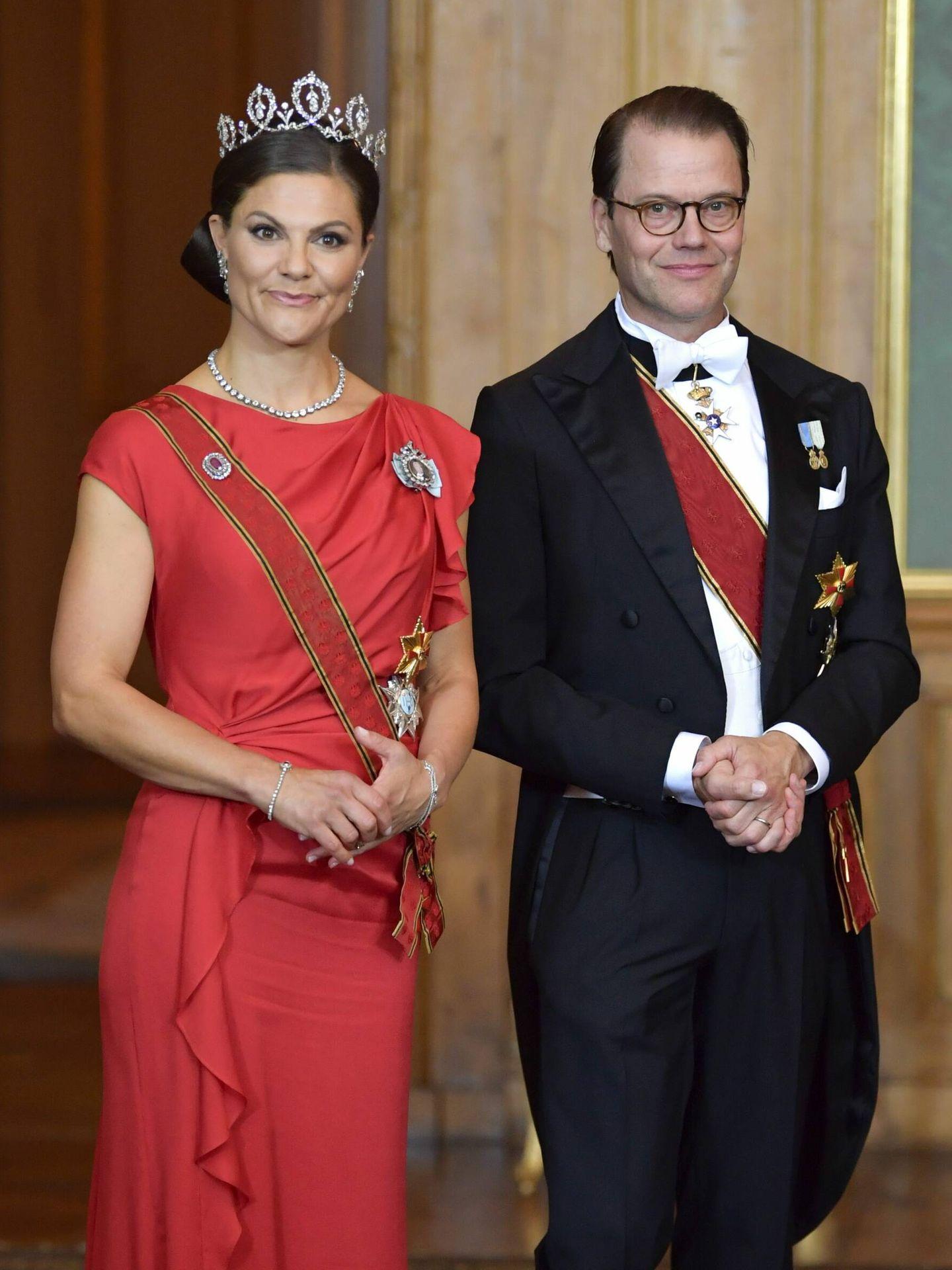 Victoria y Daniel de Suecia, antes de la cena. (Cordon Press)