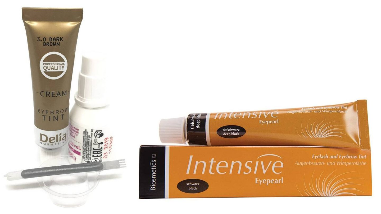 Tinte de cejas y pestañas profesional de Delia Cosmetics e Intensive Eye Pearl de Biosmetics.