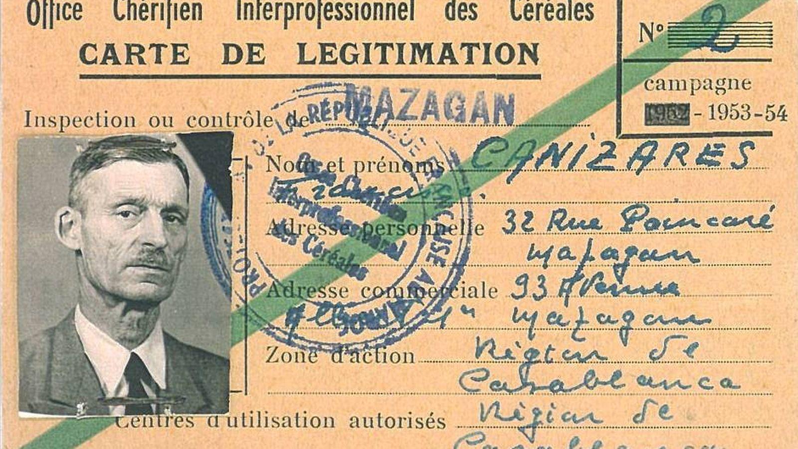 Foto: Carné de comerciante de cereales de Francisco Cañizares, español residente en el Protectorado francés de Marruecos. (Archivo familiar)