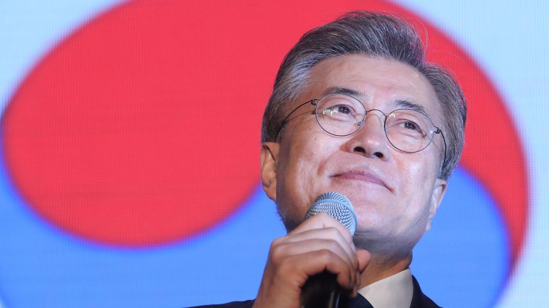 Foto: Moon Jae-in durante su discurso de victoria al conocerse los resultados electorales. (Reuters)