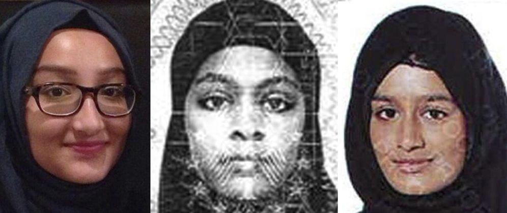 Foto: Kadiza Sultana, Amira Abase y Shamima Begum, de izq. a dcha., podrían haber abandonado el ISIS (EFE)