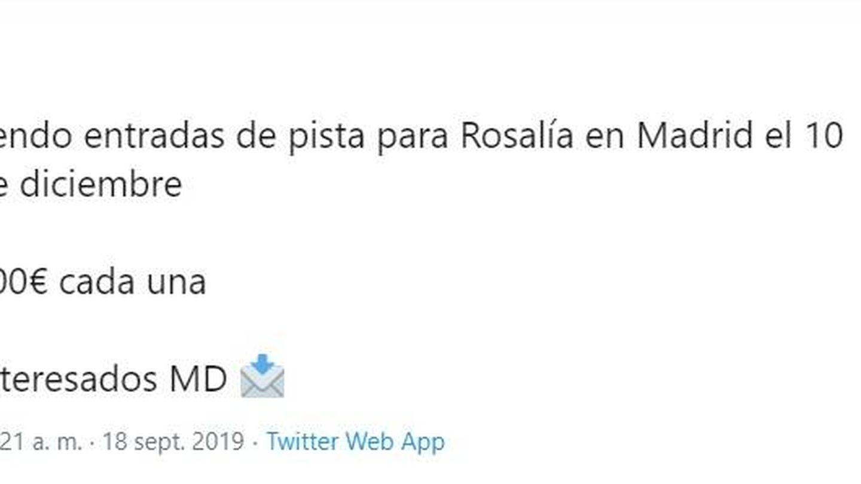 Un tweet que anuncia la reventa de entradas de Rosalía para su concierto en Madrid (Twitter)