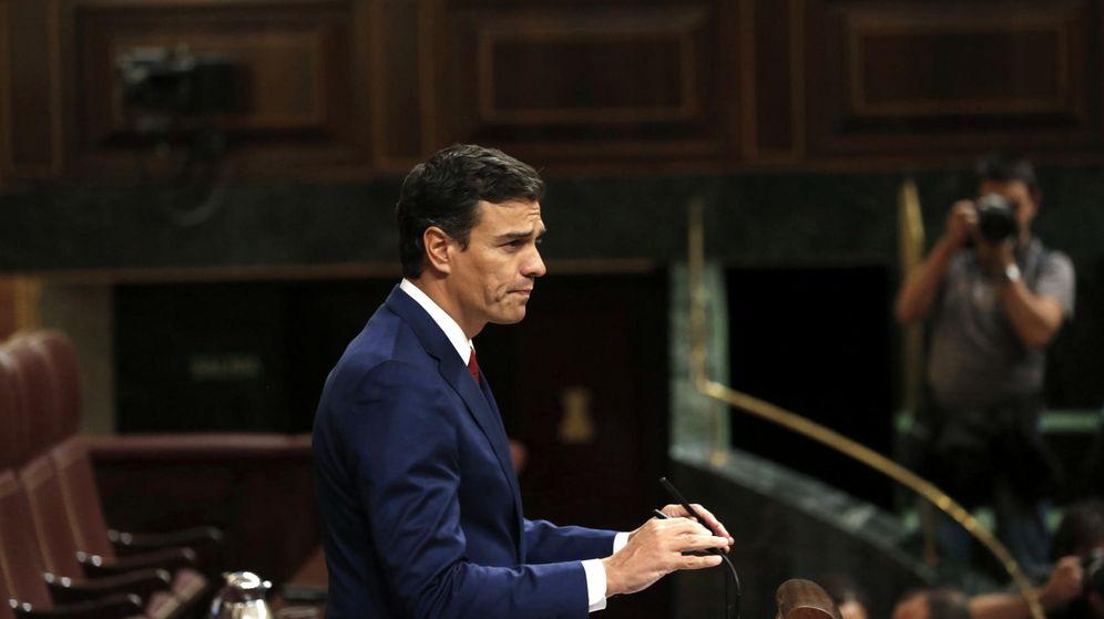 Foto: El secretario general del PSOE, Pedro Sánchez, durante su intervención este martes en el debate de totalidad de los Presupuestos de 2016. (EFE)
