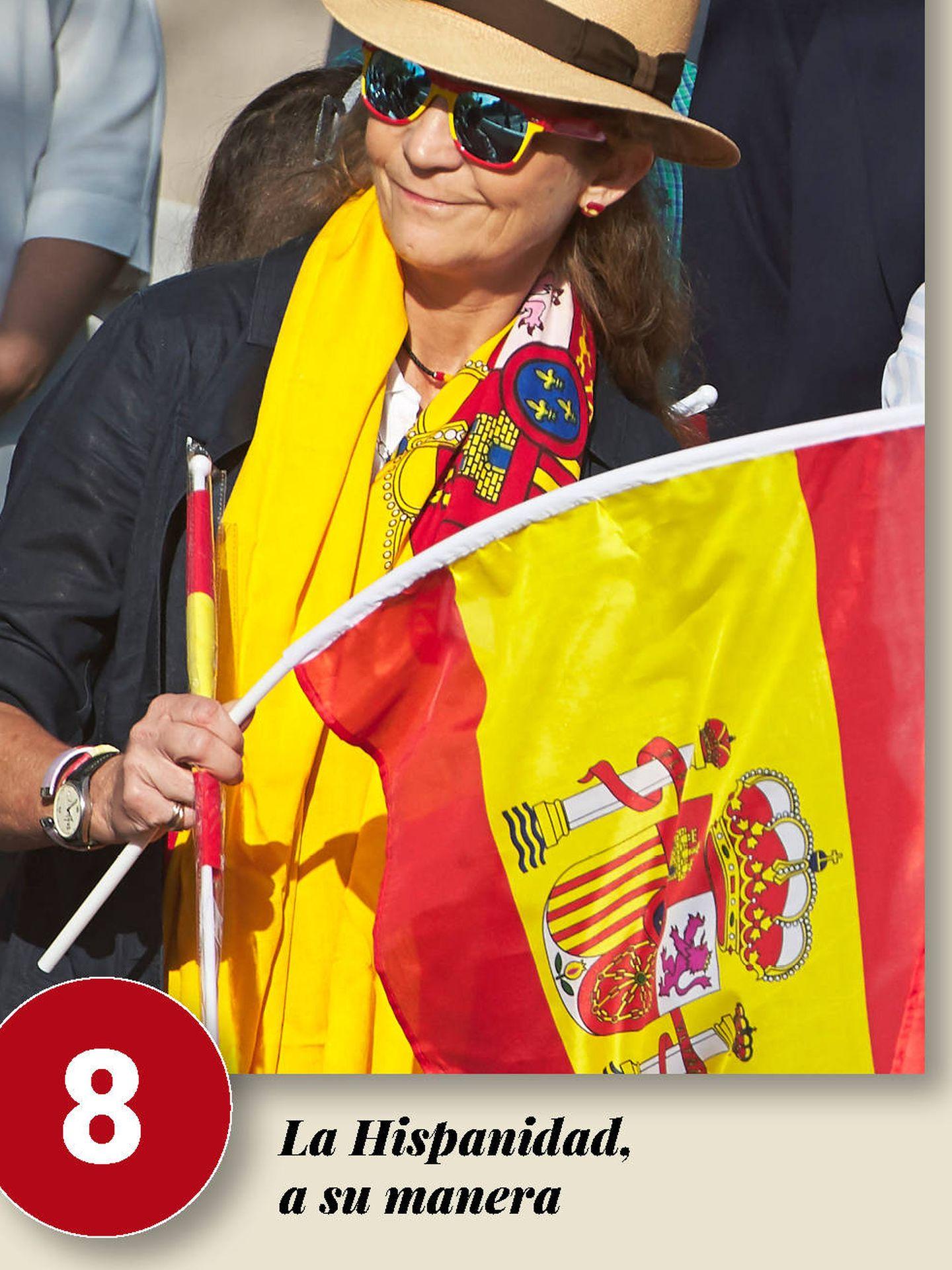 Elena, celebrando el Día de la Hispanidad de 2018. (Getty)