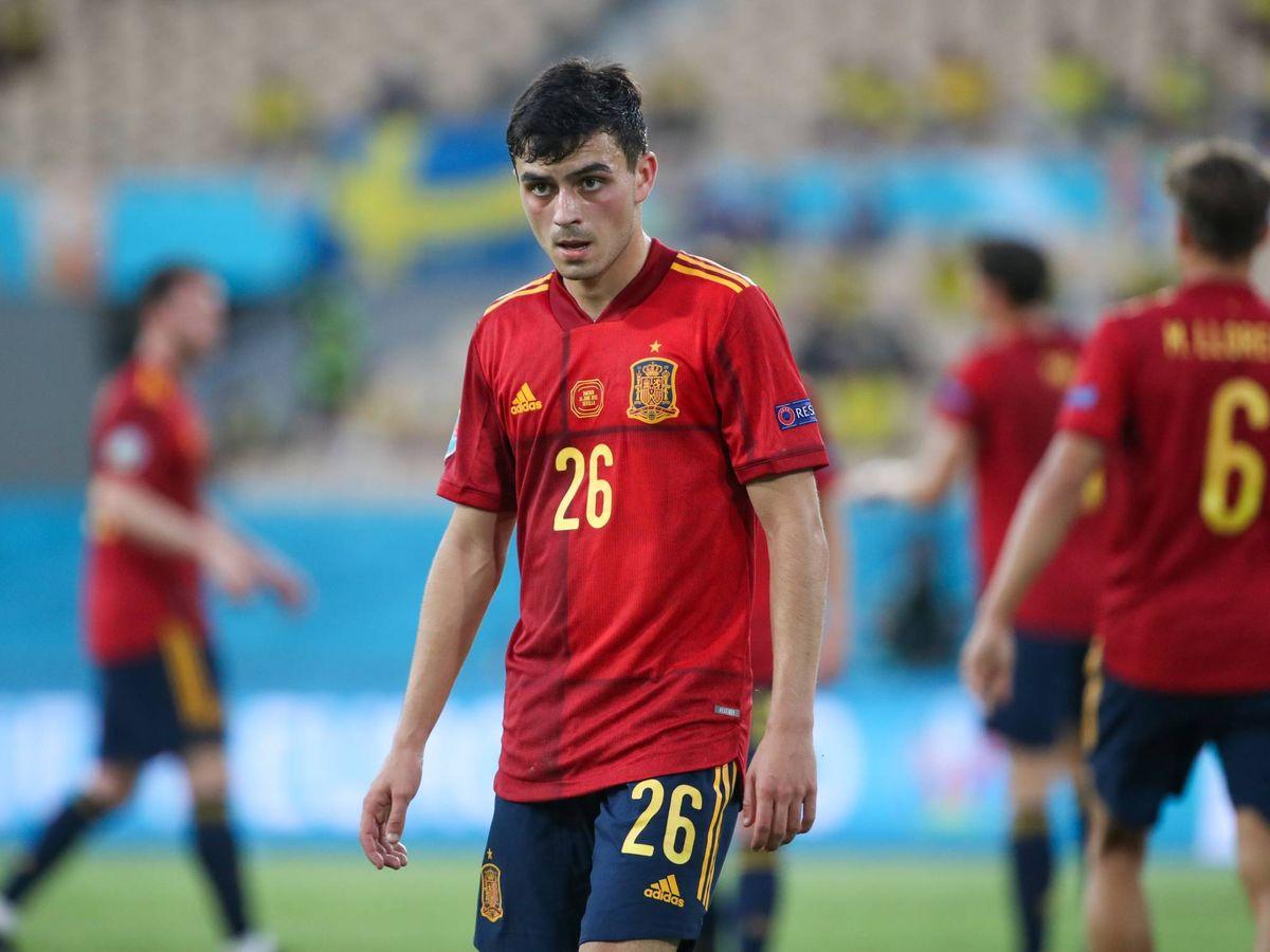 Foto: Pedri, en el partido frente a Suecia. (Selección española)
