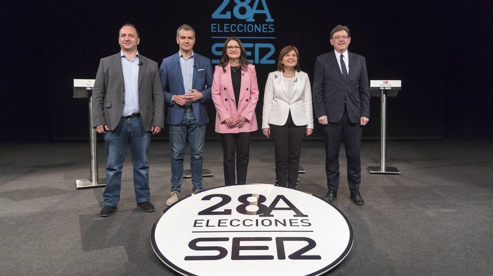 Foto: Dalmau (Podemos), Cantó (Cs), Oltra (Compromís), Bonig (PP) y Puig (PSPV), en un debate electoral organizado por la SER.