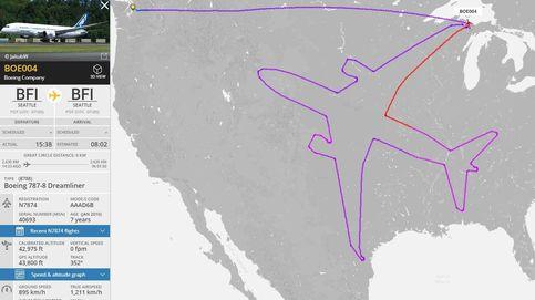 Esta ruta es real: un Boeing 787 dibuja en vuelo un enorme avión sobre EEUU
