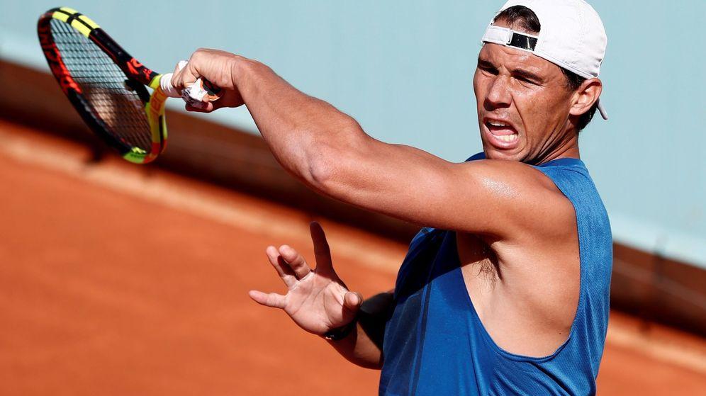Foto: Rafa Nadal entrenando en Madrid estos días. (EFE)