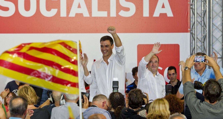 Pedro Sánchez y Miquel Iceta, el pasado domingo en Lleida. (EFE)