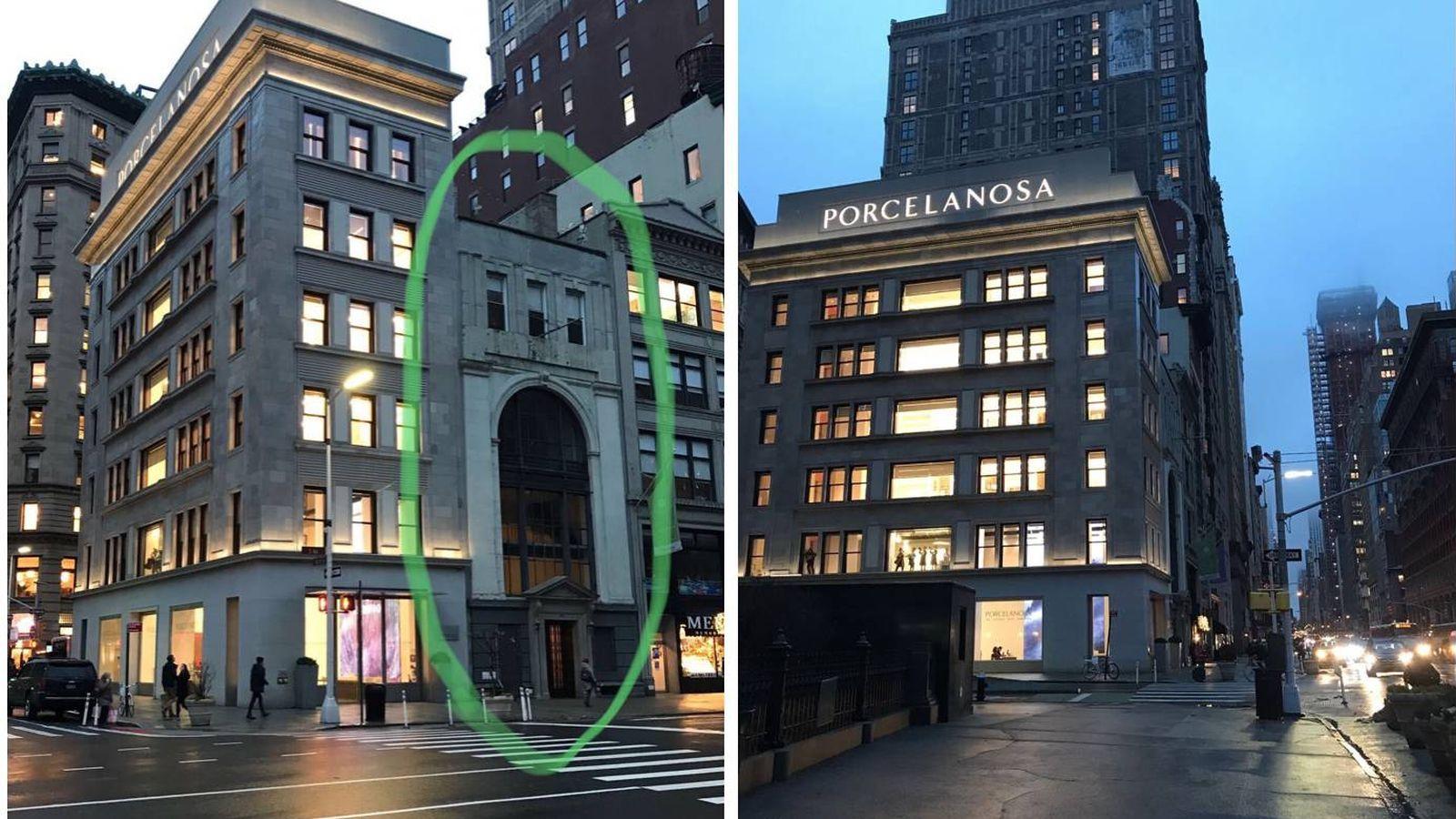 Foto: El edificio adquirido por Porcelanosa y su tienda en la Quinta Avenida de Nueva York, frente al Madison Square Garden.