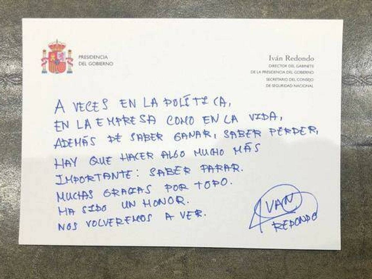 Foto: La carta de despedida de Iván Redondo.