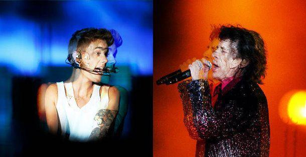 Foto: Justin Bieber y Mick Jagger. (Reuters)
