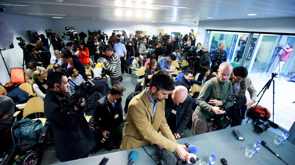 Foto: La sala de prensa en la que compareció Puigdemont en Bruselas (Efe)