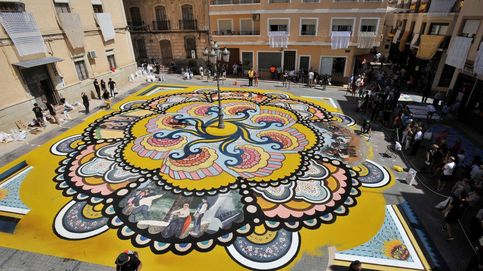 Arte efímero en Albacete y anochecer en Rusia: el día en fotos
