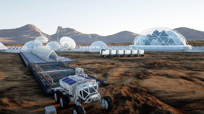 La parte superior de una ciudad marciana subterránea.