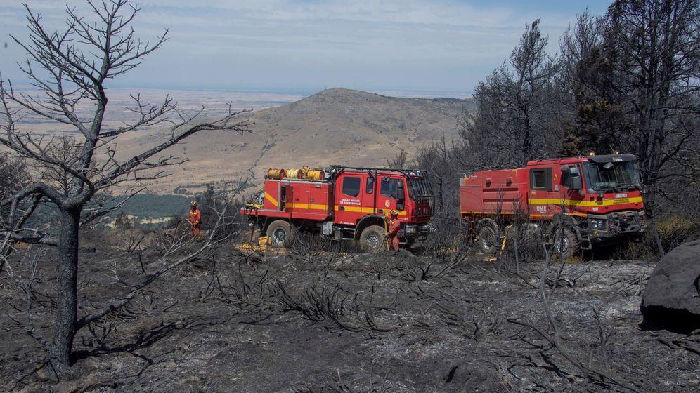 Foto: Los bomberos actúan en el incendio de La Granja de San Ildefonso (Segovia) en agosto. (EFE)