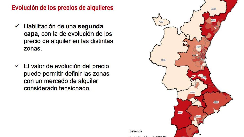 Evolución de los precios de los alquileres y zonas calientes en la Comunidad Valenciana.