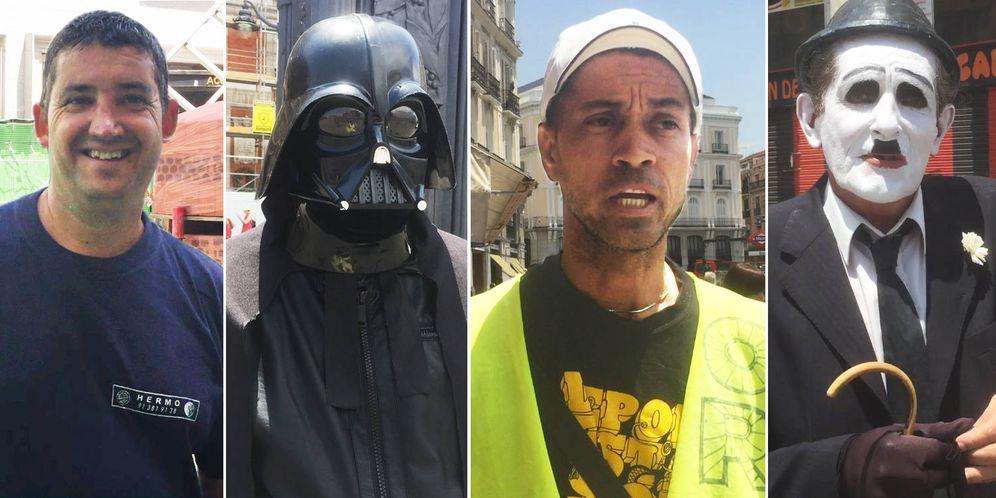 Foto: Algunos de los trabajadores de la Puerta del Sol. (P. Esteban)