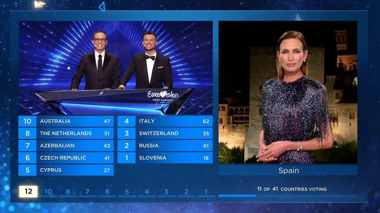Nieves Álvarez, desde Granada (España) en 'Eurovisión 2019'. (RTVE)