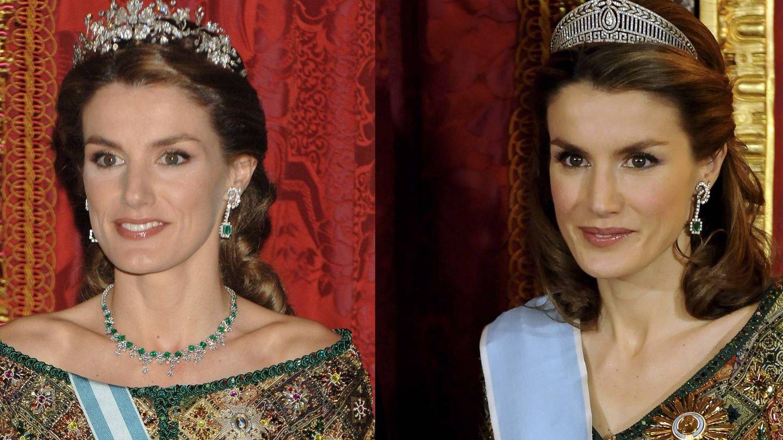 La reina Letizia, en 2006 y en 2009 con un vestido modificado de Caprile. (Getty)