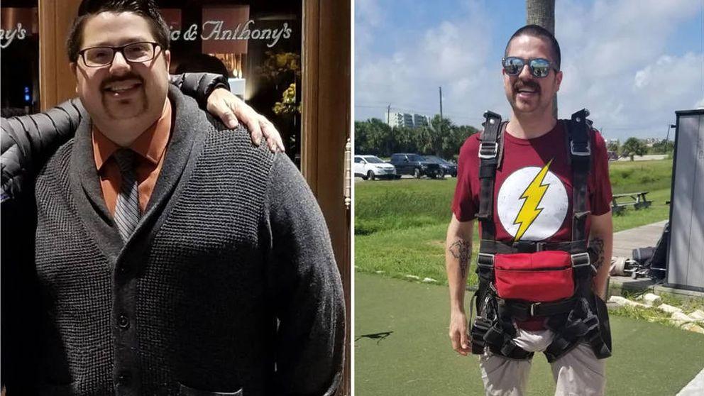 Este hombre adelgazó más de 40 kilos para poder tirarse en paracaídas