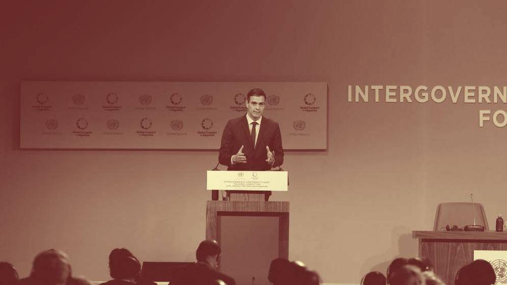 Foto: Pedro Sánchez, este 10 de diciembre, durante su intervención ante la cumbre mundial de la ONU sobre migraciones en Marrakech. (EFE)