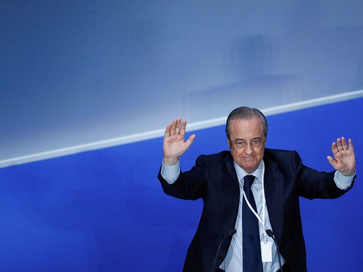 Foto: Florentino Pérez, en una asamblea general ordinaria del Real Madrid. (EFE)