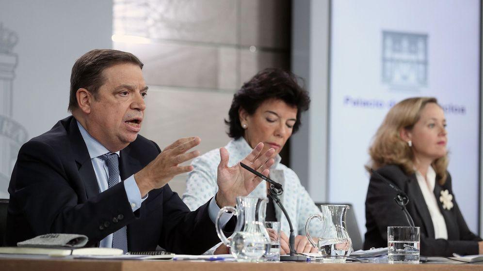Foto: El ministro de Agricultura, Luis Planas, durante la rueda de prensa del Consejo de Ministros (Efe)