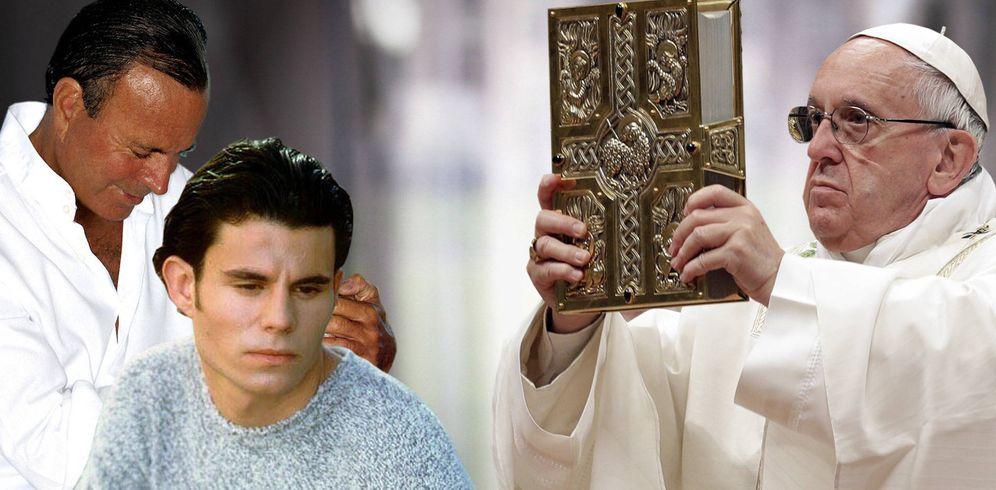 Foto: Julio Iglesias, Javier Sánchez y el Papa Francisco, en un fotomontaje realizado por Vanitatis.