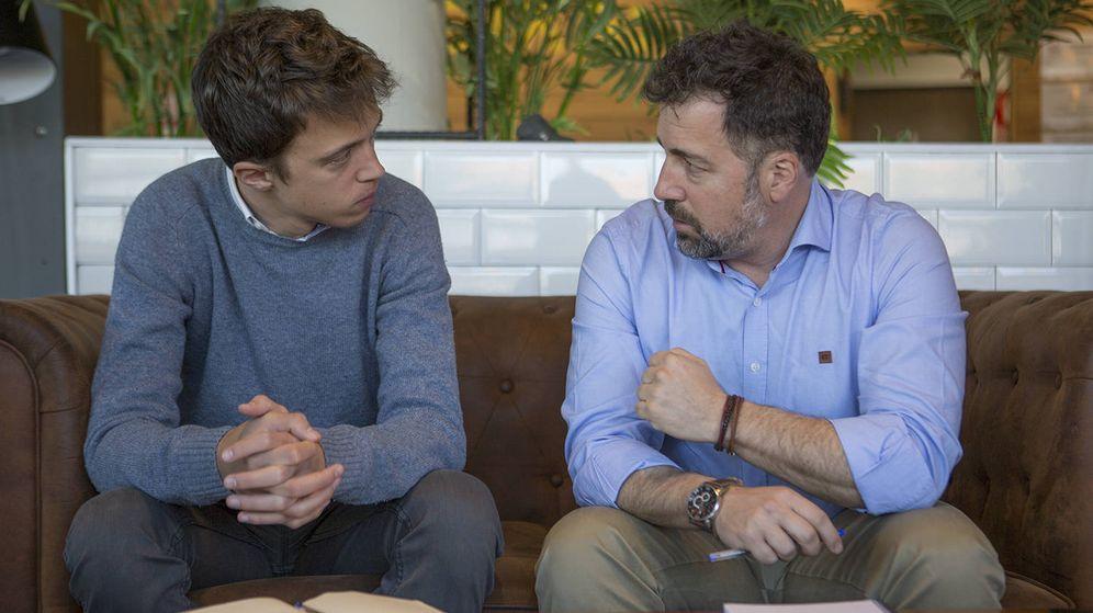 Foto: El candidato de Más Madrid, Íñigo Errejón, y el alcalde de IU en Rivas Vaciamadrid, Pedro del Cura. (Más Madrid)
