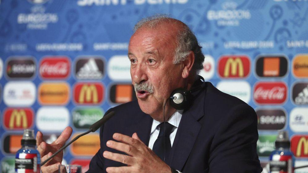 Foto: Del Bosque atendió a la prensa en Saint-Denis (Foto. UEFA)