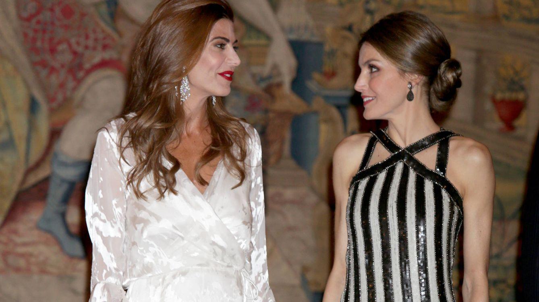 Foto: Doña Letizia y Juliana Awada durante la recepción en El Pardo (Gtres)