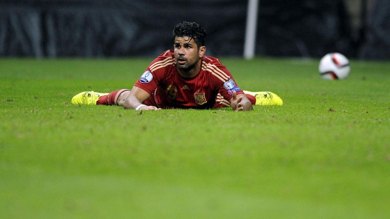 Diego Costa, en su último partido con la selección española, en Macedonia (Efe)