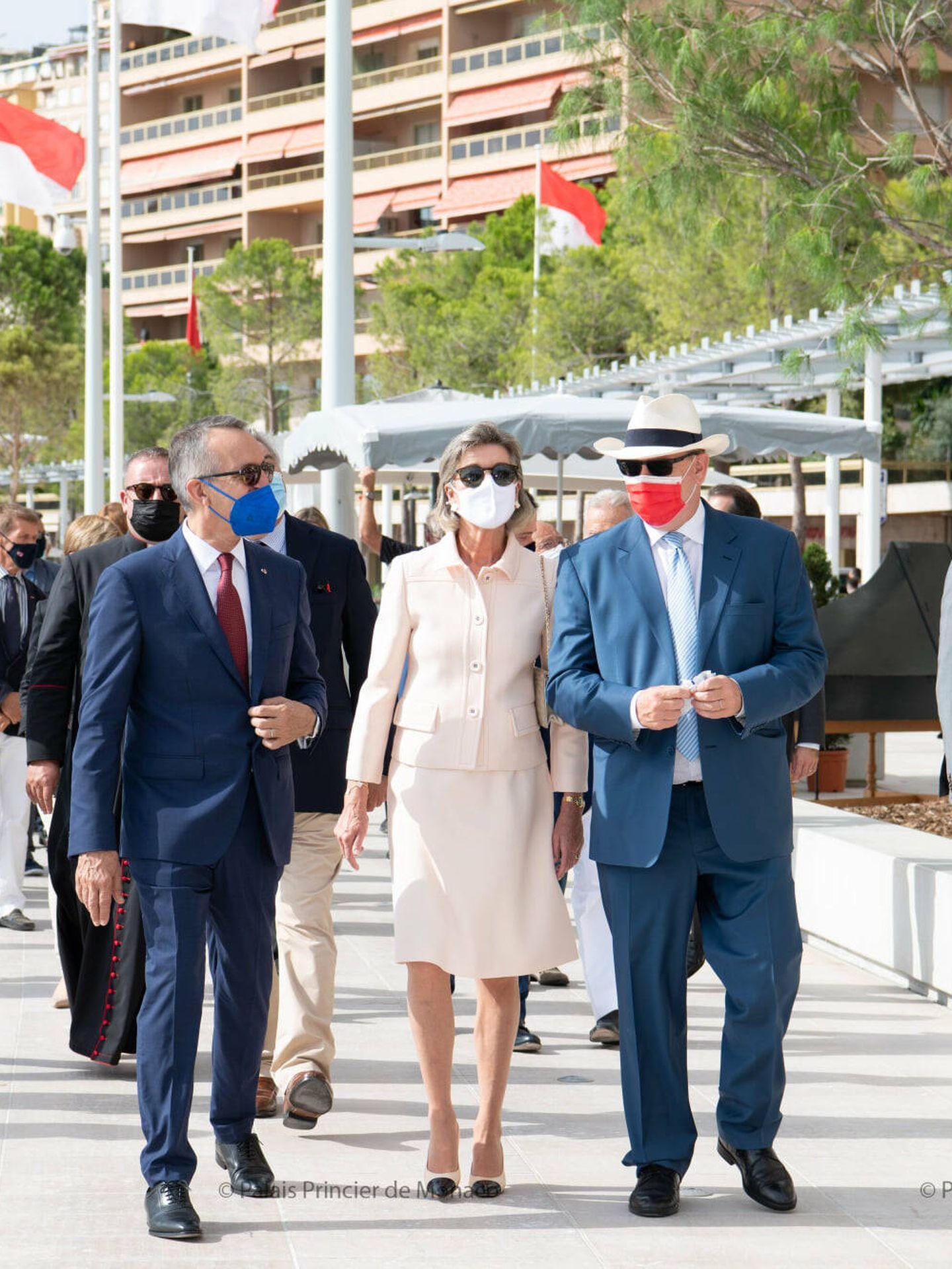 Carolina y Alberto, este sábado en Mónaco. (Palais Princier)