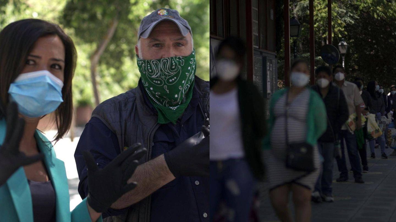 Alejandra Andrade y José Andrés viendo las colas del hambre. (RTVE)