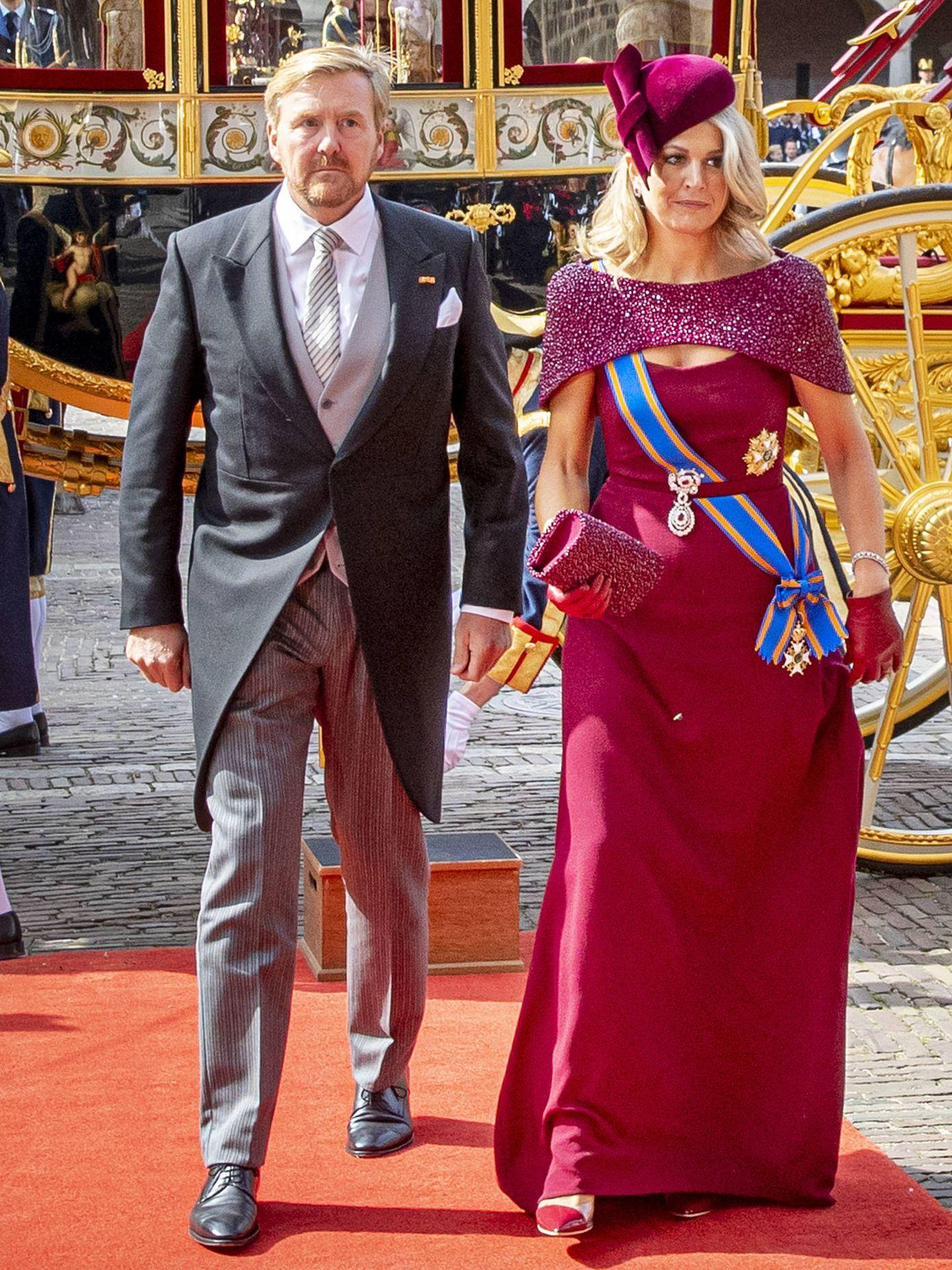 Guillermo Alejandro y Máxima de Holanda, en el Prinsjesdag de 2019. (Getty)